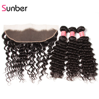 Sunber Hair Brazilian Deep Wave Bundles With Frontal 13X4 Ear To Ear Lace Frontal Closure With Bundles Remy Hair Weave For Black