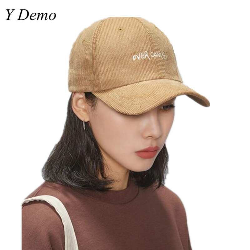Chic New Over Come Letter Embroidery Vintage Corduroy Autumn Winter Baseball Cap Women Hats