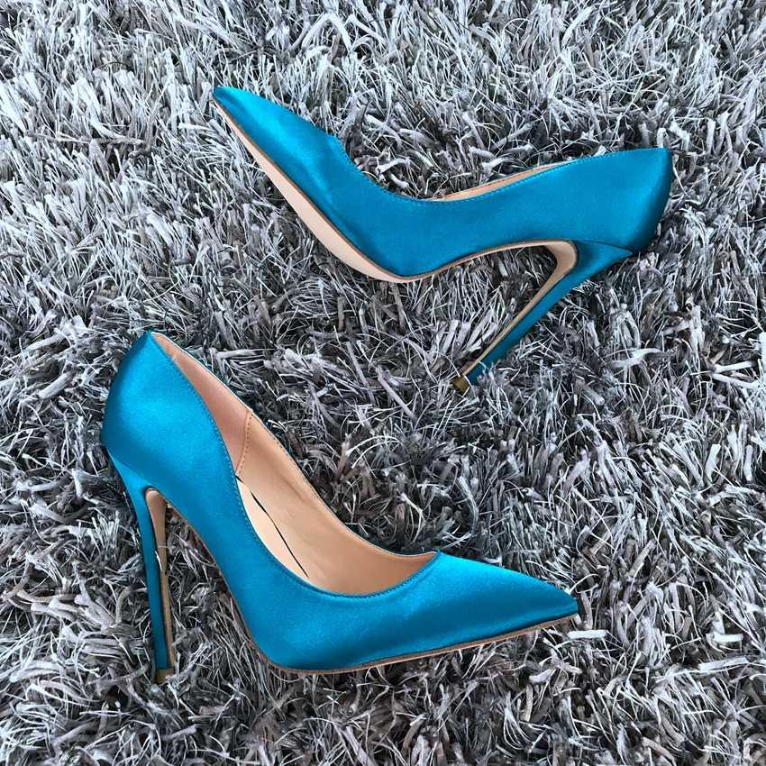 女性の靴12センチハイヒールの女性パンプスセクシーなオフィスレディの靴尖ったつま先クラシックハイヒール黒青靴女性