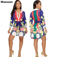 Maoxzon Womens Print Fashion Long Blouses Shirts For Female Plus Size Long Sleeve Open Stitch Sexy
