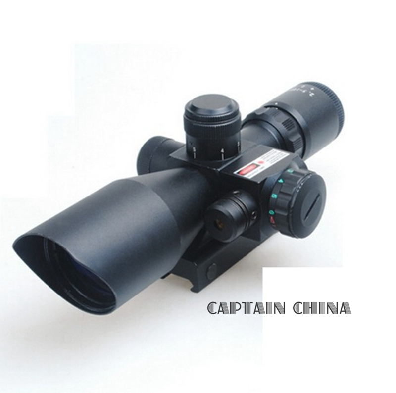 11mm/20mm Tactique Fusil Portée 2.5-10x40 avec Laser Rouge Double illuminé Mil-dot avec Rail Mount
