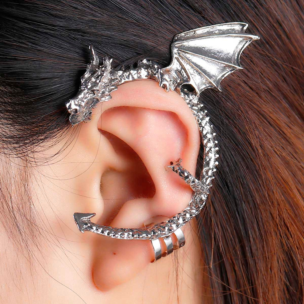 stud earrings leaf tone fashion left ear on new cuff for silver wrap clip pin