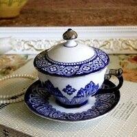 실버 파란색과 흰색 도자기 접시 컵 커피 컵 뚜껑 커버 세트