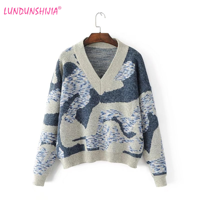 LUNDUNSHIJIA 2017 Autumn Winter Women Sweater Angora Knitting Pullover  Abstract Pattern V-neck Loose Sweaters 6a5acc4ca510