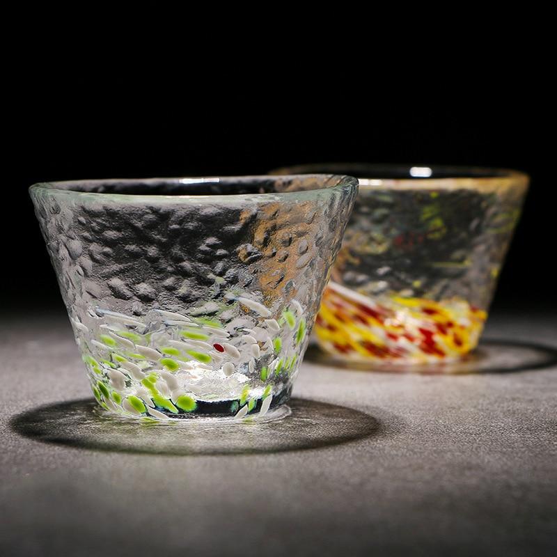 ZAKA Japan Tsugaru Technology Rainbow Crystal Colour Glasses Cup Art Saka Liquor Wine Glass Teacup Verre Vidro Xicaras Flashing
