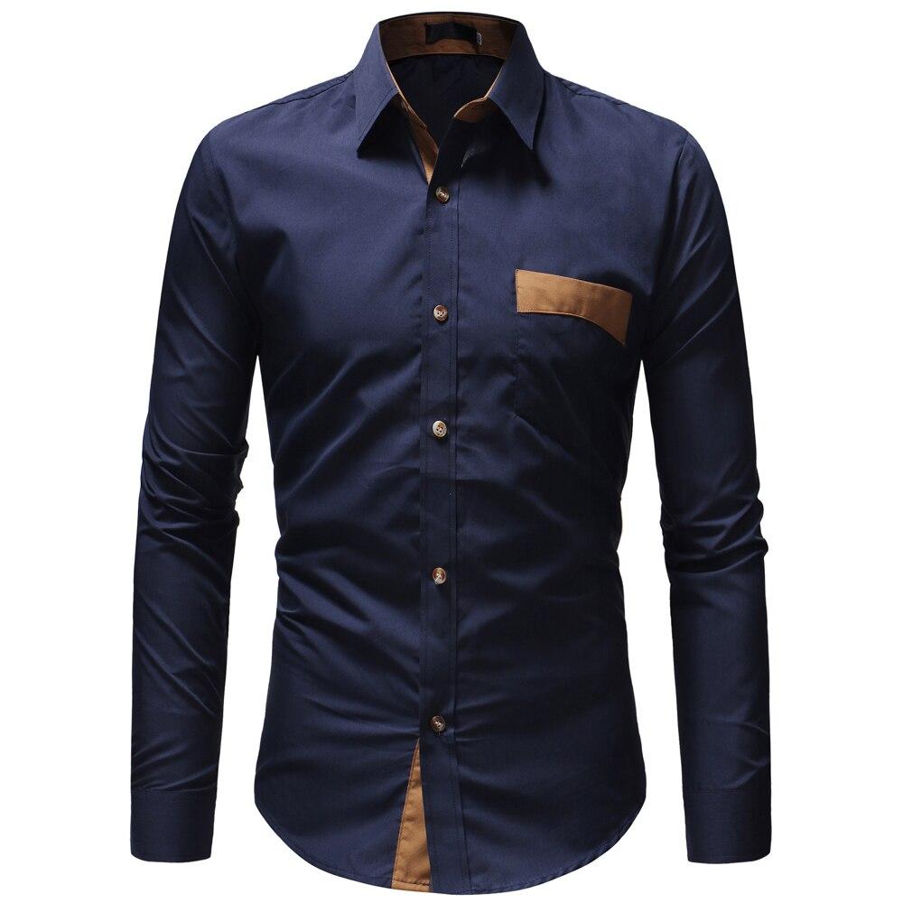JCCHENFS 2018 Casual Camisa de manga larga para hombre de moda de bolsillo ajustado Fit camisa de Negocios Sociales para hombre camisas de marca para hombre