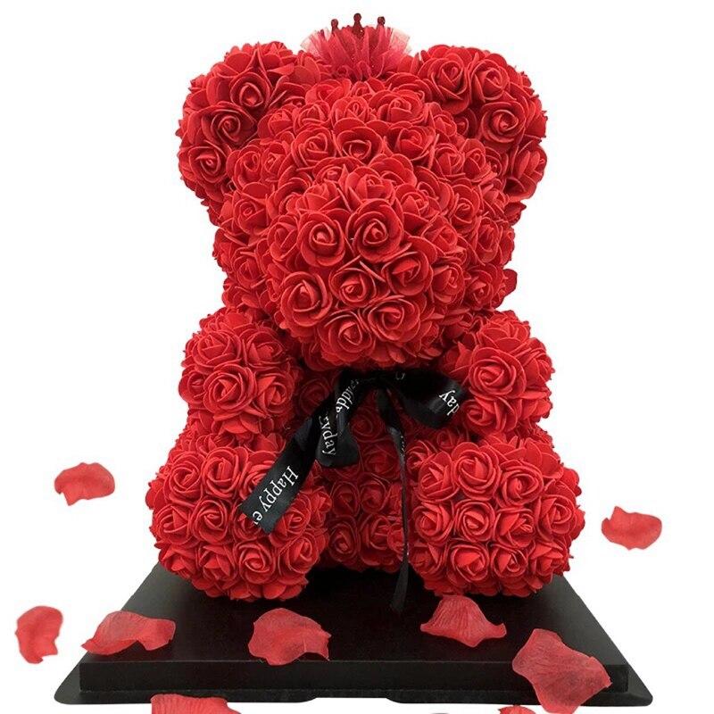 70 CM/27.56 ''ours en peluche décoratif artificiel PE Rose Bouquet ours avec boîte pour petite amie saint valentin cadeau fête d'anniversaire