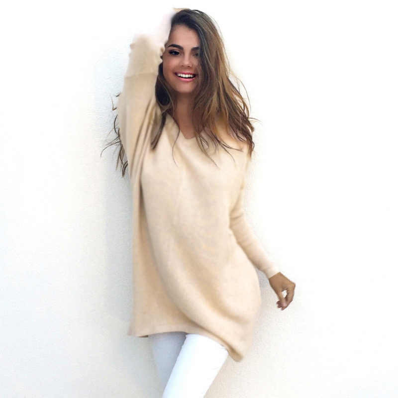 Autumn Winter Sweater Women V-Neck Pullovers Knitted Sweater Loose Long Sleeves Tops KS-shipping
