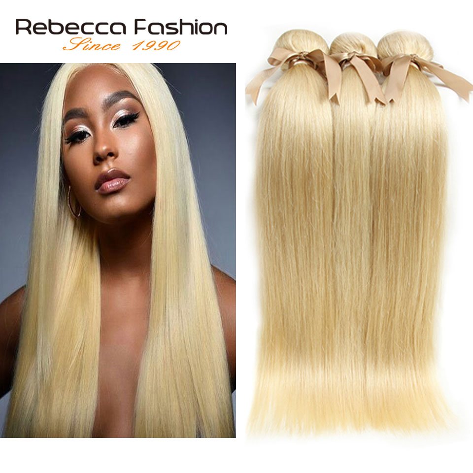 Rebecca Fashion 613 Honey Blonde Bundles Straight <font><b>Hair</b></font> Brazilian <font><b>Hair</b></font> Weave Bundles Remy <font><b>Hair</b></font> Extensions <font><b>10</b></font> to 26 Inches image