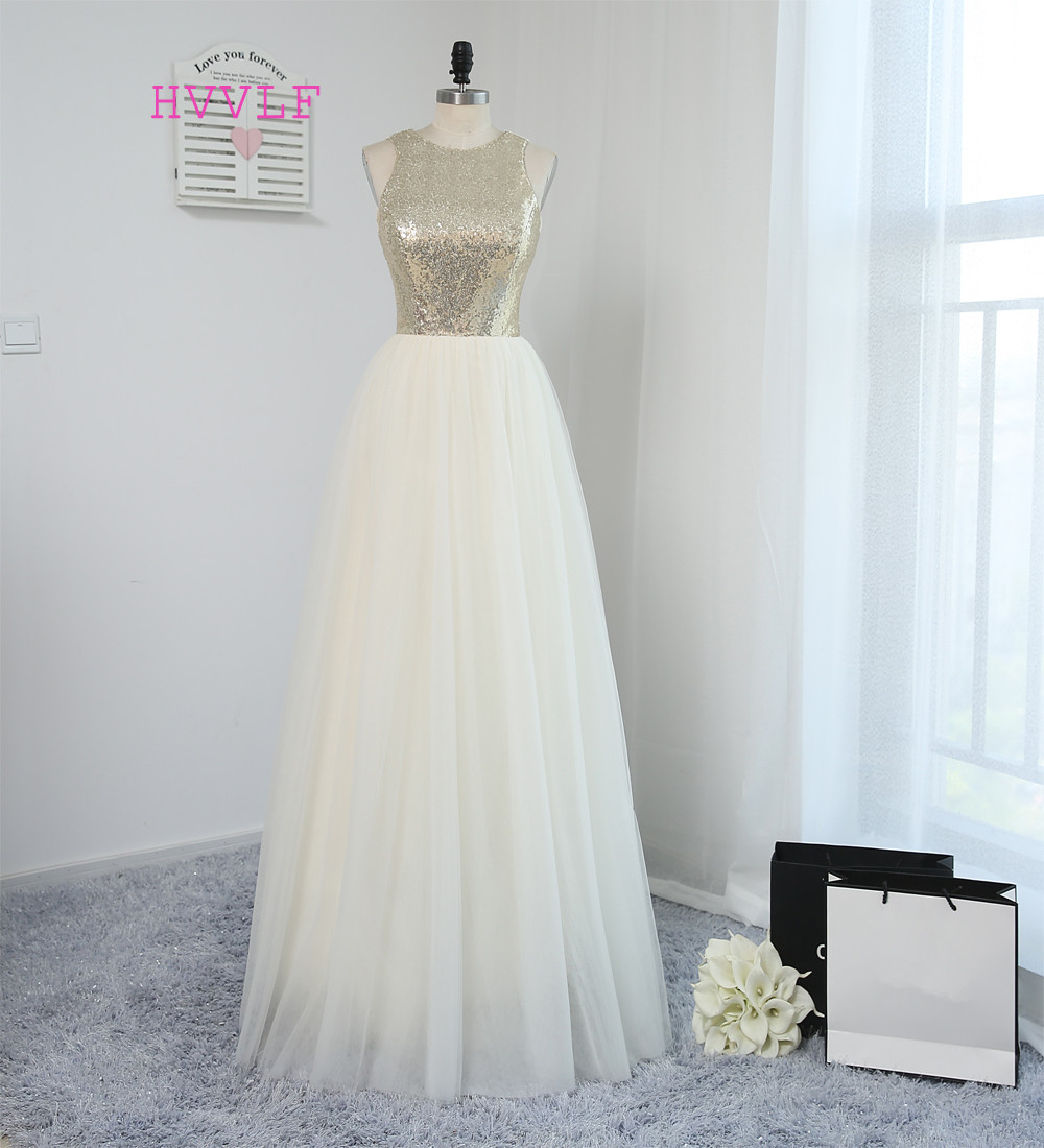 HVVLF 2019 Odavad pruutneitsi kleidid alla 50 a-line põrandapikkus avatud taga Tullejooned pulmade kleidid