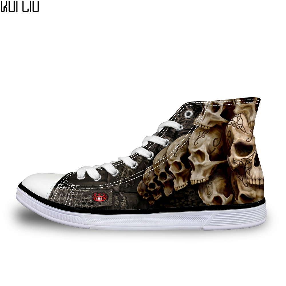 Customized Cool Punk Skull Printed Men High top Canvas Shoes Breathable Casual Lace up Vulcanized Shoes Men High Top Sneakers