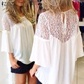 Zanzea plus size estilo europeu 2017 verão mulheres chiffon blusas patchwork de renda sólida camisas casual solto blusas brancas tops