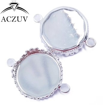 200pcs Silver Plated 15mm 20mm 25mm Necklace Bracelet Pendant Tray Bezel Blank Jewelry Link Connector Cabochon Setting DPL004