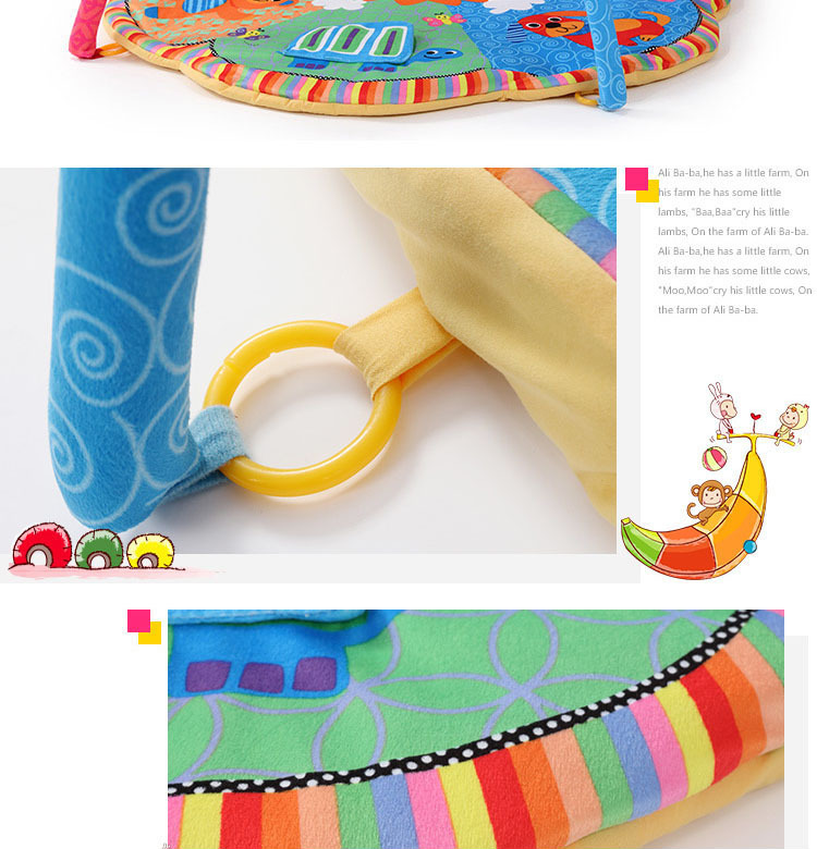 New Design Colorful Fun Animals Baby Play Mats 0-1 Year Baby Educational Toy Sports Crawling Pads Play Activity Gym Blanket 6
