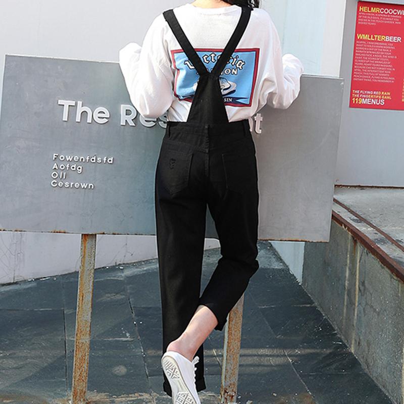 Denim Jumpsuit Women Solid Hole Jeans Jumpsuit Rompers Women Korean Fashion Suspender Monos Largos Mujer Pantalon Largo Overalls 11