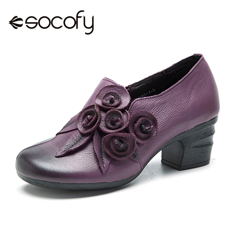 все цены на Socofy Retro Women Pumps Genuine Leather Handmade Flower Side Zipper Pumps Heels Woman Vintage Floral Block Heels Women Shoes