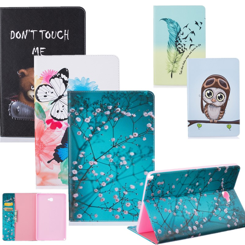Case For Samsung Galaxy Tab A A6 10.1 P580 /P585 S/Pen Case Cover Cute Owl Flower Tree PU Leathertablet Flip Wallet Stand Bag