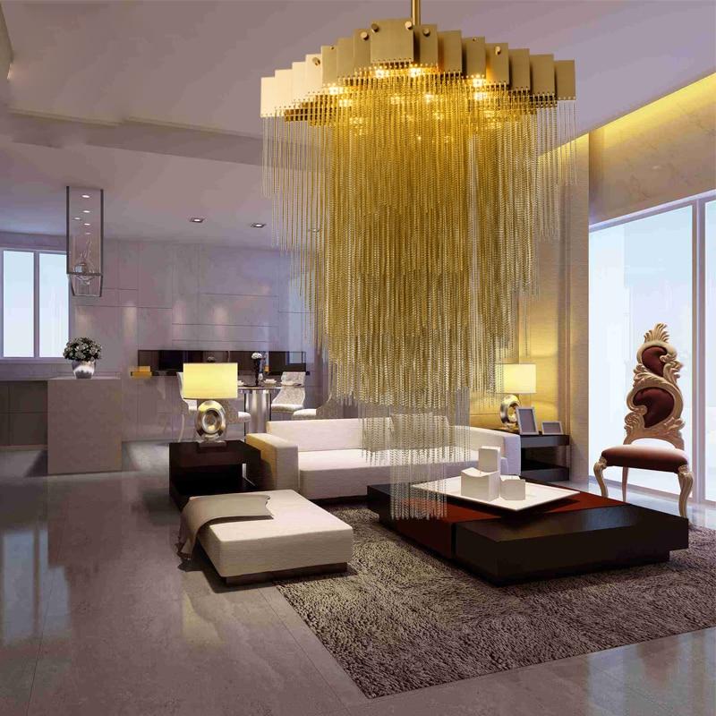 Luxury villa Aluminum Chain pendant light Italy Tassel ...