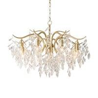 Американский классический кристалл 3/6/8 оружия люстра огни для гостиной/спальни Золотой Утюг e14 Свеча лампы светодио дный светодиодные люст