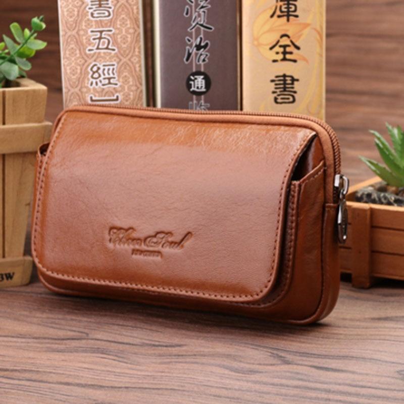 New Men's Waist Bag Genuine Leather  Fashion Flip Belt Hip Fanny Bag Waist Pack Purse For Cell Mobile/Phone Case Pocket Wallet