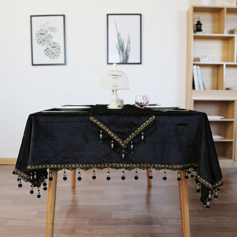 Classical Noble Black Velvet Luxury Table Cloth European Retro Tea Table  Cloth Cover Decoration Beads Tassels Thick Tablecloth In Tablecloths From  Home ...