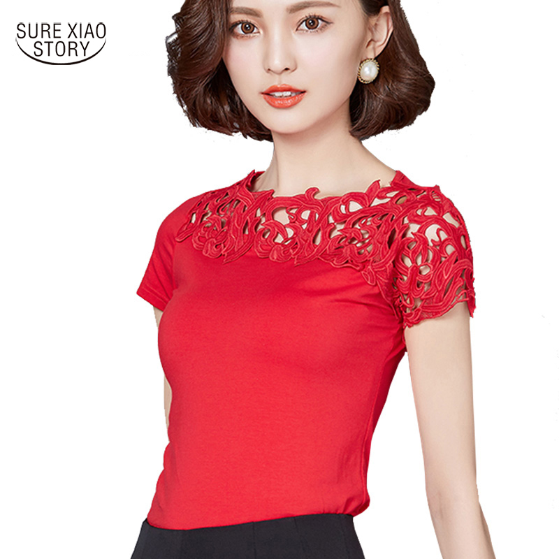 2017 New Women Cotton Lace Patchwork   Blouse     Shirt   Short Sleeve   Shirt   Elegant Ladies Tops Plus Size Womens Clothing 811 30