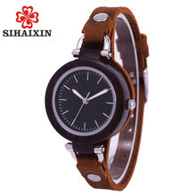 SIHAIXIN Wood Watch Women Small Leather Bamboo Wood Ladies Watches Luxury Wristwatch Bracelet For Girls Gift Relogios Feminino(China)