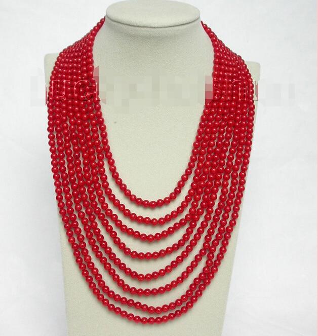 Livraison gratuite>>>> naturel 8row 17 -25 collier de perles de corail rouge rond 925 s fermoir j8562Livraison gratuite>>>> naturel 8row 17 -25 collier de perles de corail rouge rond 925 s fermoir j8562