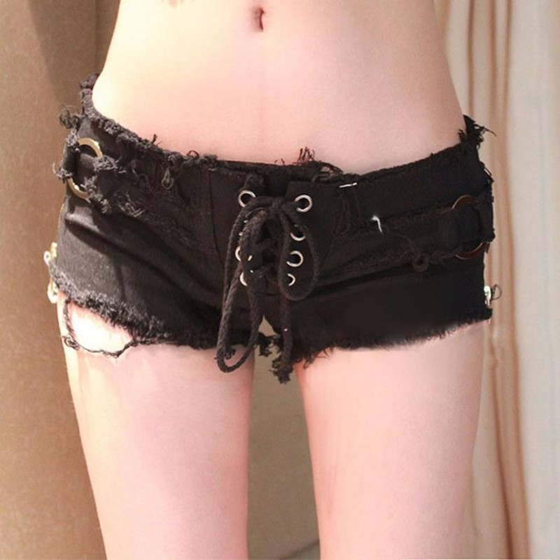 2017 New Sexy Women Summer Denim Jeans Shorts Pants Fake Zippers Sides Low Waist Drawstring Super Mini Short Pants White Black