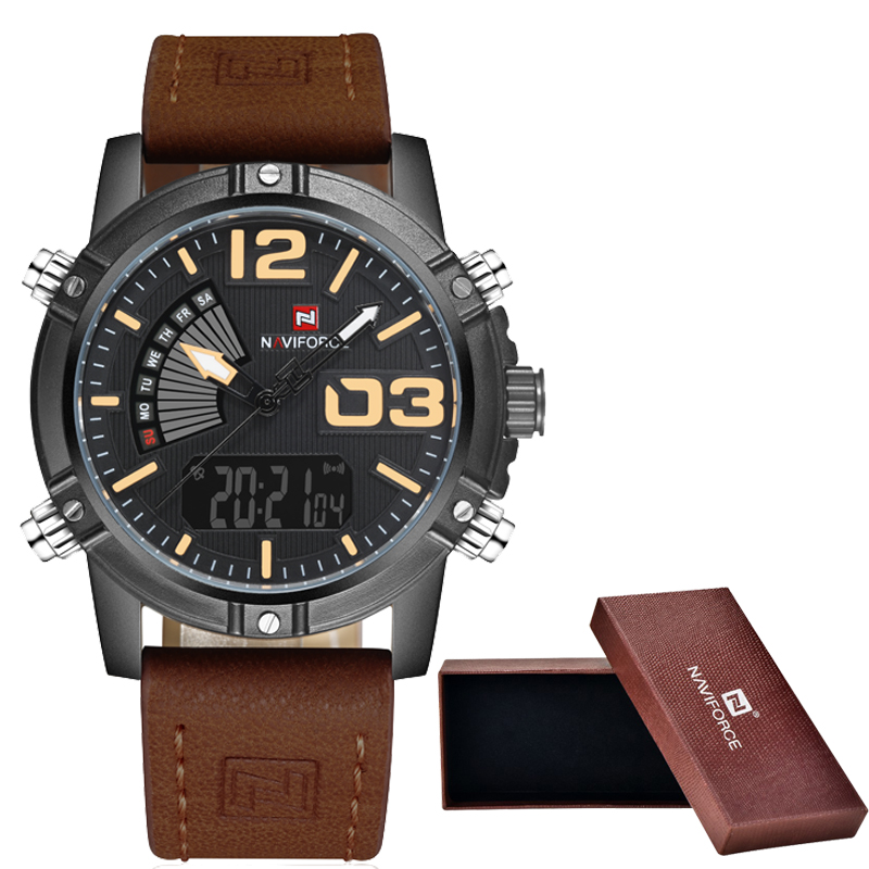 NAVIFORCE Brand Men watch Fashion Casual Sport Watches Men Waterproof Leather Quartz Watch Man military Clock Relogio Masculino benyar brand men watch fashion casual sport watches men waterproof leather quartz watch man military clock relogio masculino