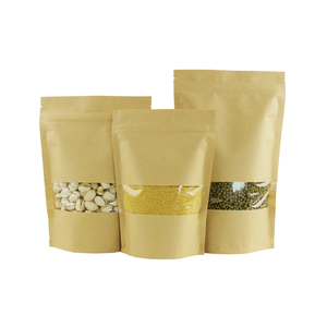 Image 4 - 100pcs קראפט שקית נייר נעילת מיקוד לעמוד תיק עם חלון, אירוע מסיבת מתנת שקיות תה אריזת סוכריות מזון יום הולדת מתנת שקיות