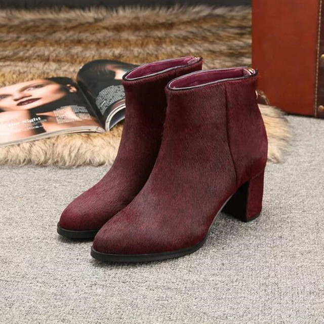 c5aedd853 Newest Horsehair Ankle Boots For Women Fashion Burgundy Gray Black Thick  Medium Heels Ladies High Quality Cheap Price Shoes