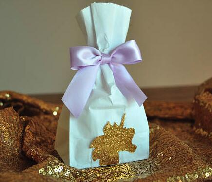 glitter Unicorn 1st Birthday Baby Shower Favor popcorn Bags with bow
