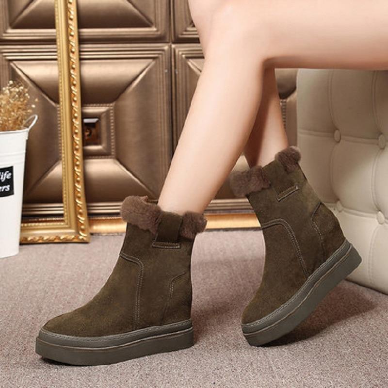 Hiver Fond Cuir Chaussures slip Pl Khaki New 2018 En Épais De Velours Mat Coton Sauvage Bottes Daim Plus Non Dames Court Neige Nn8wvmOy0