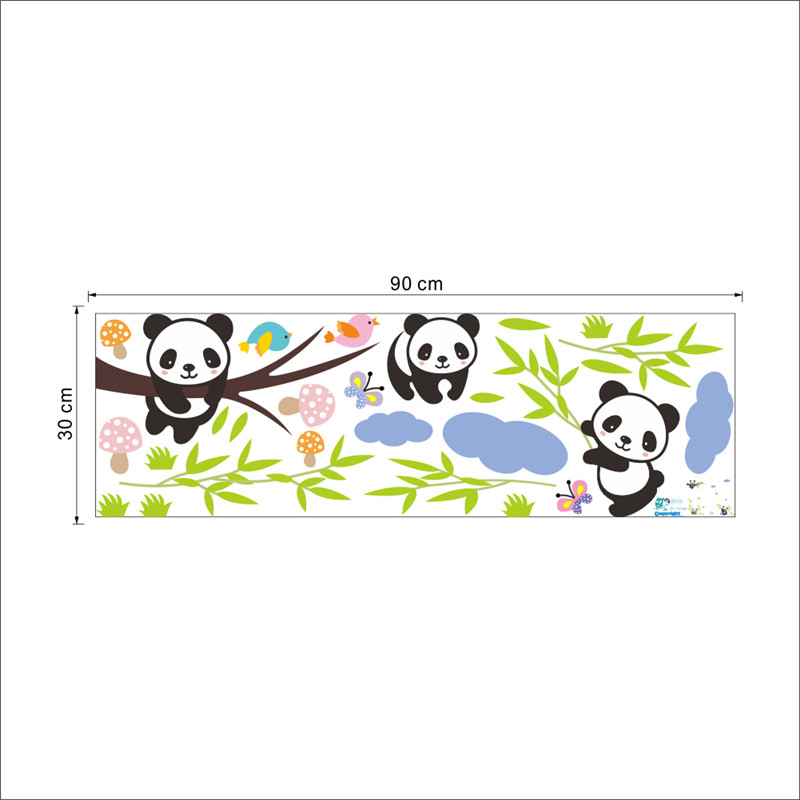 HTB1AQxnJVXXXXaGXFXXq6xXFXXXE Cartoon Forest Panda bamboo Birds tree Wall Sticker For Kids room