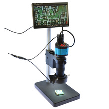 Sale 100X C-Mount Lens 2.0MP VGA HD 2in1 Industry Digital Microscope Camera + 7″ VGA LCD Monitor + Stand Holder + 40 LED Ring Right