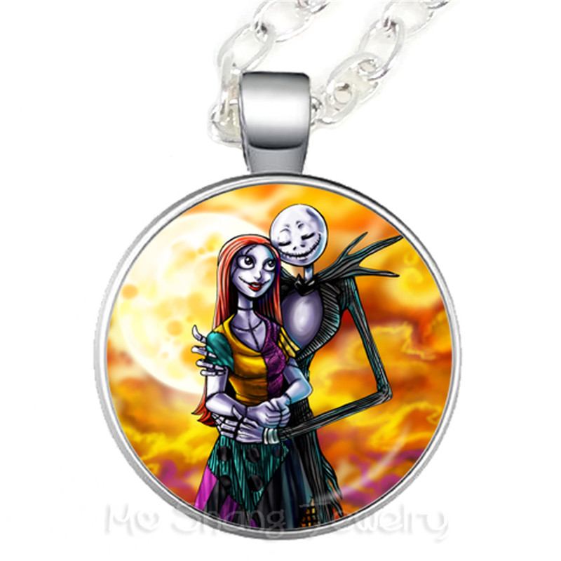1 PC Jack Skellington And Sally Photo Glass Necklace For Women Fashion Handmade Pendant For Friends Sweater chain