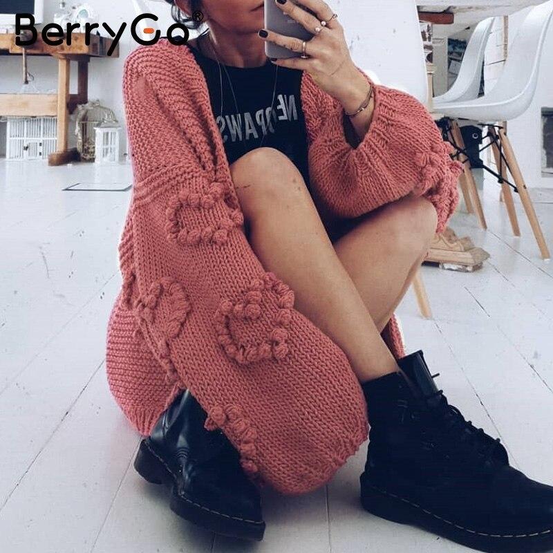 BerryGo Oversize Women Knitted Cardigans Lantern Sleeve Heart Crochet Loose Sweaters Autumn Winter Female Cardigan Outwear Coats