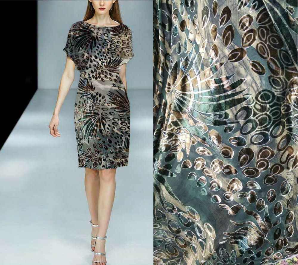 Бесплатный шелк ткани высокого tecido бархат ткани платья шторы tissu Зеленый Цветы листьев шелк ткань оптовая/розничная продажа