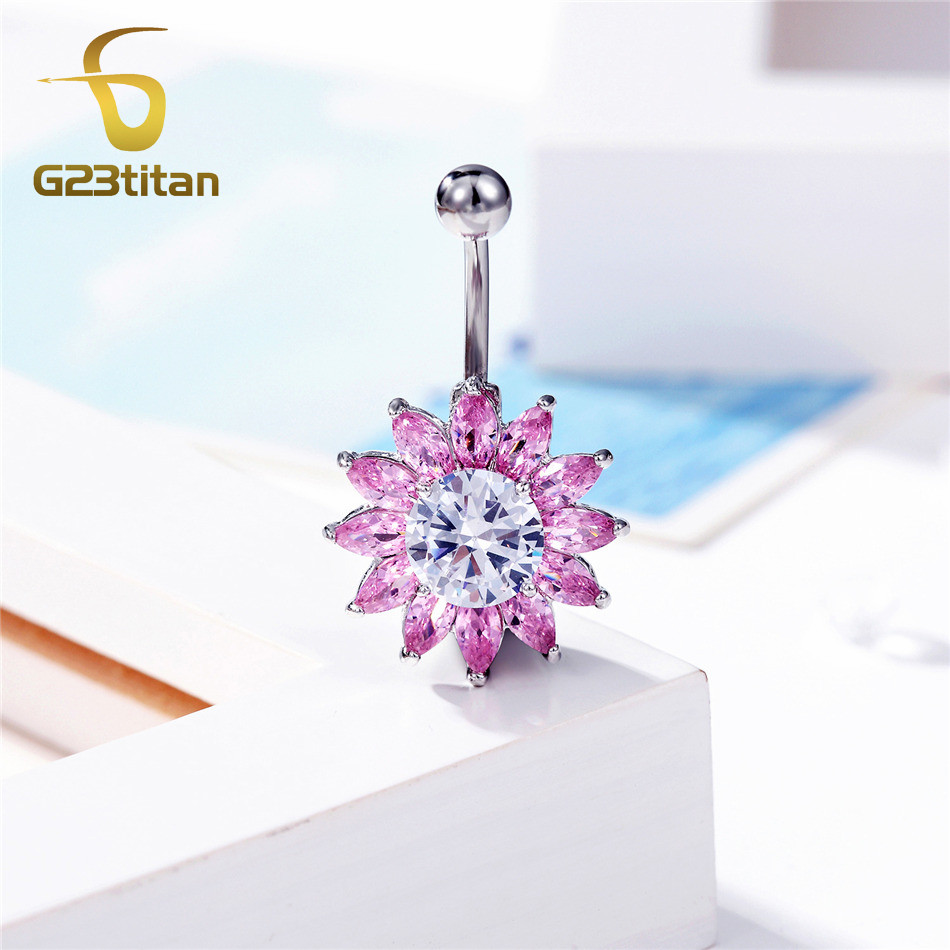 G23titan AAA Zircon Flower Belly Button Ring Body Piercing Jewelry Navel Piercing Silver Color umbilicus piecing in Body Jewelry from Jewelry Accessories