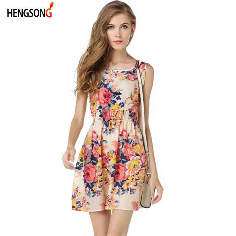 a808085092d6 2018 Summer Dress Women Floral Print Chiffon Dress Sleeveless Boho Style  Short Beach Dress Sundress Casual