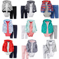 JY-080 Retail New Arrival 2016  Baby 3pcs Set Boys Hoodies + Bodysuits + Pant Outfits Infant Clothing Set Free Shipping
