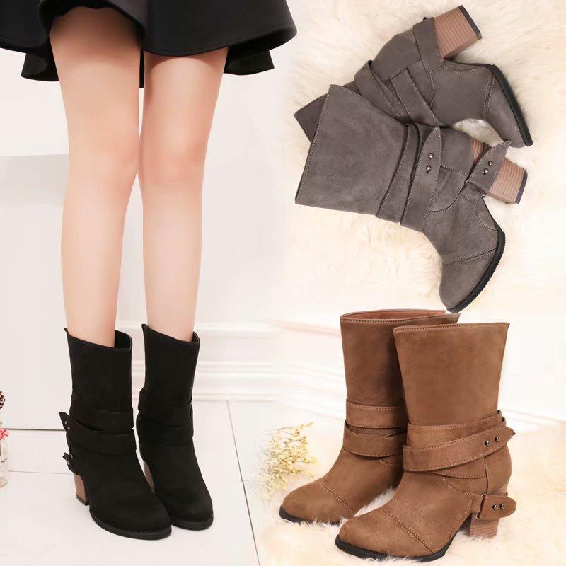 f21068180756bd Tangnest Frauen Mid-Kalb Stiefel Vintage Wildleder Kurze Reitstiefel  Beiläufige High Heels Plattform Schuhe Frau
