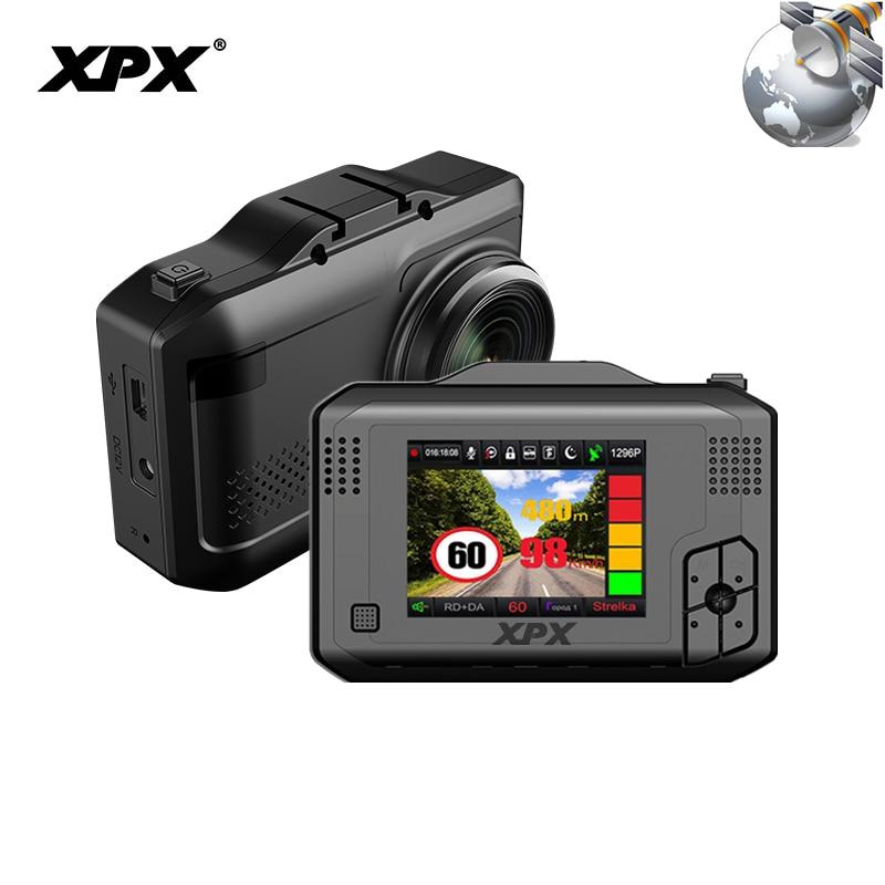 Автомобильная камера XPX регистраторы Автомобильный видеорегистратор 3 в 1 gps радар dvr sfhd 1296 P Ambarella A12 Dashcam радар детектор g сенсор