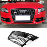 A4 B8 Honeycomb Hood Grill with Emblem Logo Front Bumper Mesh Grill Grilld For Audi A4 S4 RS4 2009 2010 2011 2012