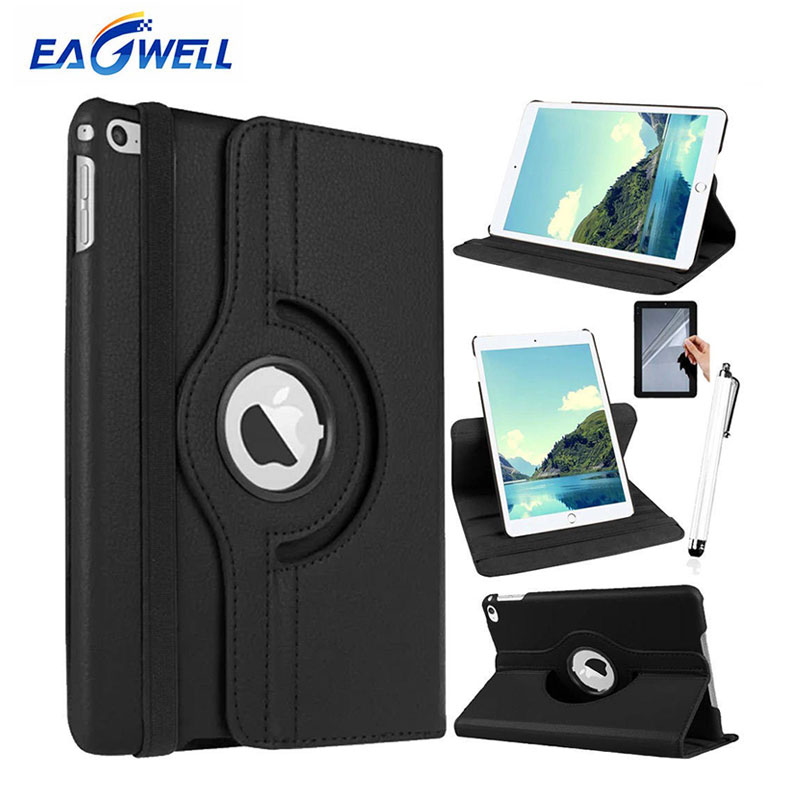 Eagwell Case Cover For iPad Air 2 iPad 6 PU Leather 360 Degree Rotating Flip Stand Smart Cover Protector Tablet Case+Pen+Film