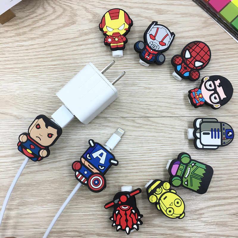 Cartoon USB Kabel Protector Management Data Line Organizer Clip Protetor de Cabo Kabel Winder Voor iPhone Samsung Huawei Xiaomi