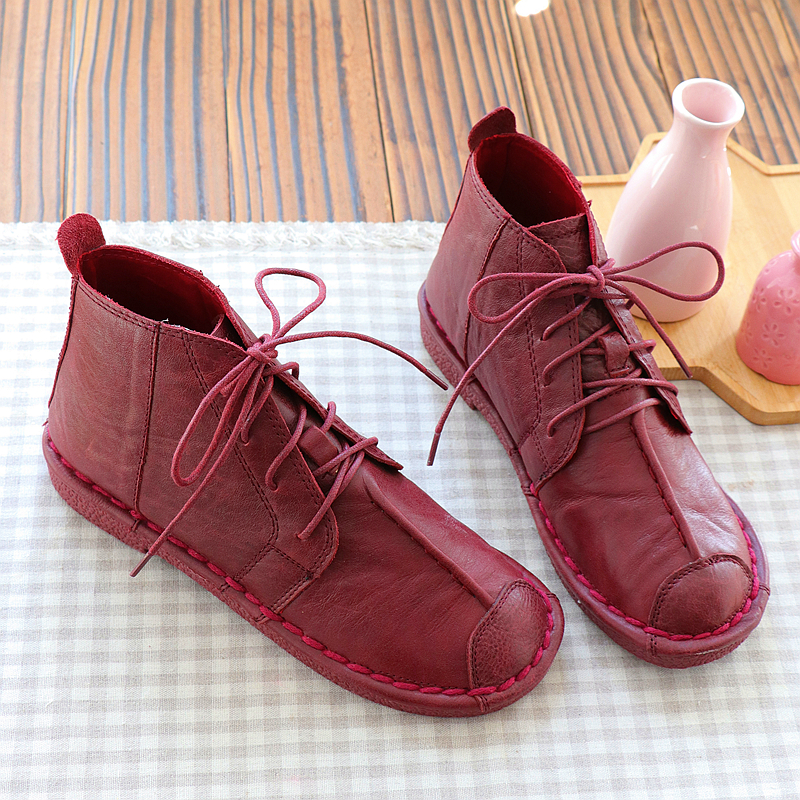 2018 autumn new Mori literary retro flat short boots genuine leather women s boots ankle boots