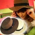 Chic Mujeres Playa de Verano Sombrero de Paja Del Bowknot superior Plana Fedora Cloche Sombrero de Boonie