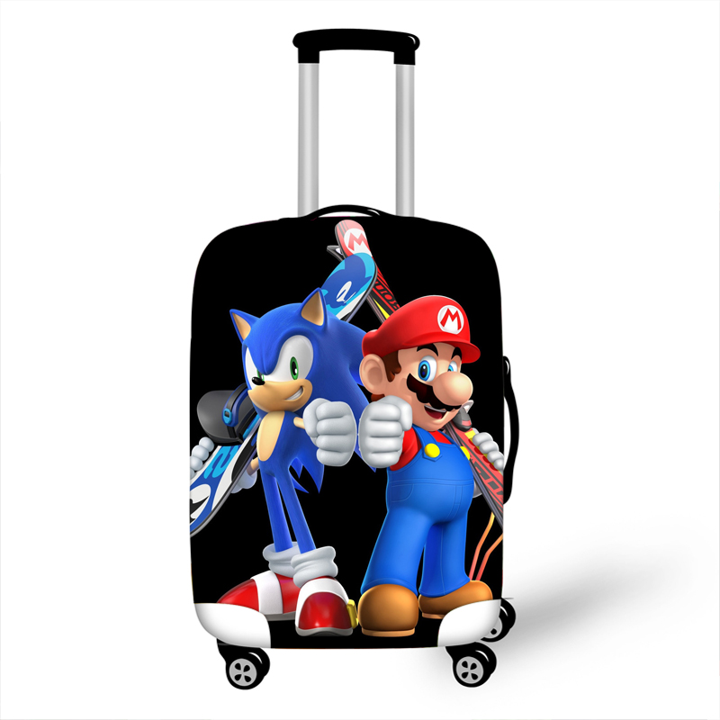 18-32 Inch Sonic Mario Bros Elastic Thicken Luggage Suitcase Protective Cover Protect Dust Bag Case Cartoon Travel Cover
